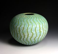 Ceramics by Peter Beard at Studiopottery.co.uk - 2011. Green vessel, 28cm. across
