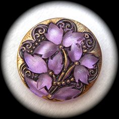 """BiG PAiR Czech Glass Buttons - Iridescent Lavender Purple with Lacy Gold Luster Swirls - Reverse Painted 1 1/16"""" x2"""