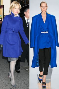 Add zing to your basics (and your with electric blue. Pictured: Diane Sawyer and Michael Kors. Winter Dress Outfits, Casual Dress Outfits, Fall Winter Outfits, Fashion Over 50, Blue Fashion, Fashion Women, Fashion Trends, Wedding Guest Outfit Inspiration, Power Dressing