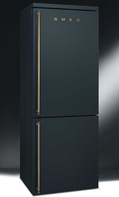 WANT! black brass smeg refrigerator  may not be available in US