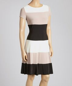 Another great find on #zulily! Ivory & Fawn Block Stripe Scoop Neck Dress by Julian Taylor #zulilyfinds