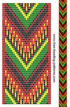 free-beading-pattern-guitar-strap-fringe-red-green-black