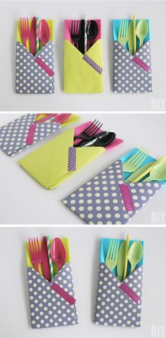 Crafting with Paper: DIY Utensil Holders! These little guys are so easy to make and they come in really handy at parties! Great paper craft tutorial!
