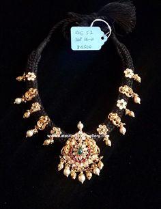 Nakshi Peacock Black Thread Necklace