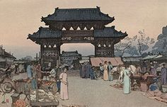 "Japanese Art Print ""Market in Mukden"" from the Korea and Manchuria Series by Yoshida Hiroshi ... http://www.amazon.com/dp/B01EPG4UP0/ref=cm_sw_r_pi_dp_5jaixb05P447R"