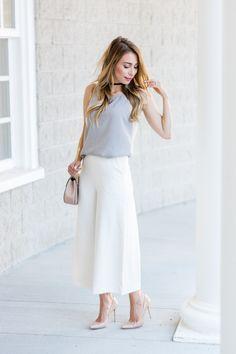 OOTD - Aritzia White Culottes | La Petite Noob