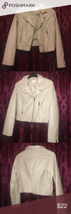 Faux Leather Jacket In great condition, only worn once. Light colored faux jean jacket BONGO Jackets & Coats