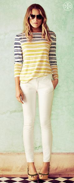 Stripes, Meet Whites | Tory Burch Summer 2013