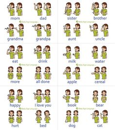 Baby Sign Language Chart (self-print version) The printable baby sign language chart helps you learn the basic signs so that you can in turn teach your baby. The free baby sign language chart is… Baby Sign Language More, Sign Language Phrases, Sign Language Alphabet, American Sign Language, Sign Language For Baby Toddlers, Baby Language, Thank You Sign Language, Learn Sign Language Free, Teaching Baby Sign Language
