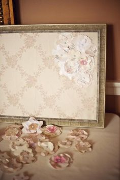Unique Guest Book  Ideas Paper Flowers and pinned to a fabric cork board.. our guest book idea!!!