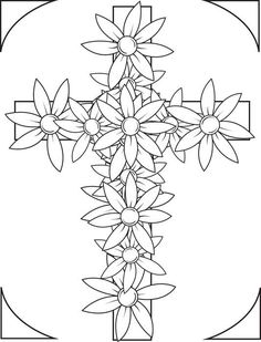Free, Printable Cross With Flowers Coloring Page for Kids Make your world more colorful with free printable coloring pages from italks. Our free coloring pages for adults and kids. Coloring Pages For Grown Ups, Easter Coloring Pages, Bible Coloring Pages, Coloring Pages To Print, Coloring Pages For Kids, Coloring Books, Kids Coloring, Fairy Coloring, Mandala Coloring