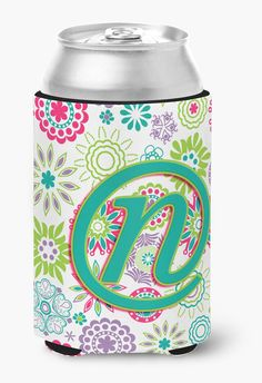 Letter N Flowers Pink Teal Green Initial Can or Bottle Hugger CJ2011-NCC
