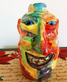 Southern Pottery Face Jug Signed Folk Art