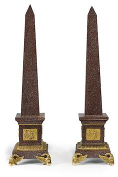 A pair of Continental Neoclassical style gilt bronze mounted red porphyry obelisks late 19th century