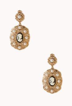 Cameo Filigree Dangle Earrings