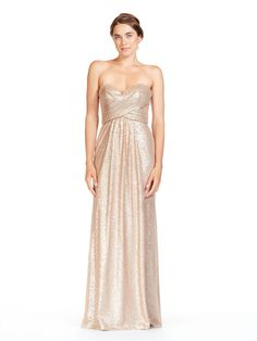 c154e4ab70e Bari Jay 1833 is a long strapless Solid Sequin bridesmaid dress that has a  pleated empire