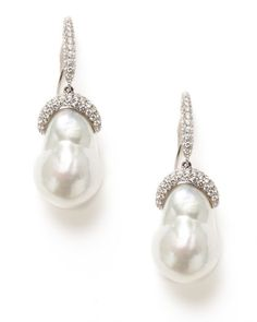 Diamond Curve & White Baroque Pearl Drop Earrings by Tara Pearls on Gilt.com