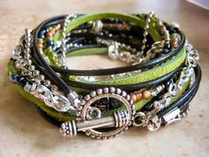 Boho Chic Endless Leather and Chain Wrap Beaded Bracelet...Key West Lime