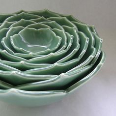 Nesting Lotus Bowls in Emeraude Green Set of Eight Ceramic Bowls