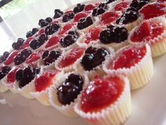 Cheesecake Bites. Easy to make. Just add your favorite fruit toppings! Premix cheesecake