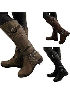 Buy Women Fashion Winter Wide Calf Low Heel Belt Buckle Riding Leather Boots Plus Size(EU choose one size bigger) at Wish - Shopping Made Fun Mid Calf Boots, Knee High Boots, Over The Knee Boots, Winter Fashion Boots, Winter Boots, Winter Outfits, Biker Leather, Leather Boots