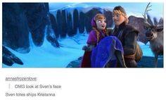 Frozen meme - Sven shipps Kristanna<<< me around my ships Frozen Love, Frozen And Tangled, Disney Frozen, Frozen Heart, Arte Disney, Disney Magic, Disney And Dreamworks, Disney Pixar, Disney Ships