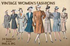 Vintage Women's Fashions by Blue Line Design on @creativemarket