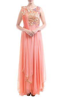Peach Embellished Suit Set by Anushree Agarwal, Fusion Suits #indowestern #ethnicwear #ethnic #fusion #western #wedding #shopping #weddingseason #online #bff #bestfriend #bffswedding #cocktail #sangeet #reception #dance #elegant