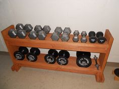 abf8543f80f DIY Dumbbell Rack. I made this from scrap lumber and the iron rails ...