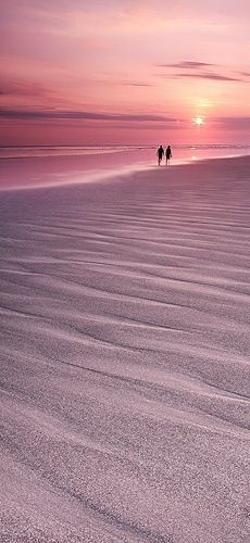 Sunset... pink sand... and a long walk for lovers.