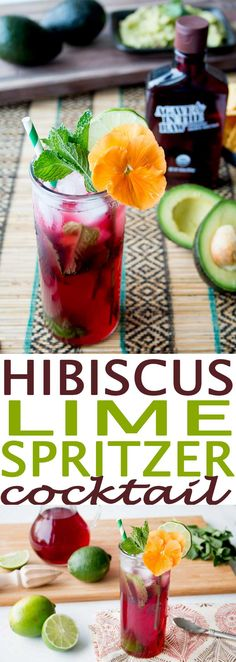 Hibiscus Lime Spritzer Cocktail is a glorious cocktail full of health benefits including colon health benefits that the hibiscus flower offers. Drink includes hibiscus tea, which is a great source of beneficial nutrients. Serve this cocktail at your next party, or for simply sitting outdoors in warm weather.