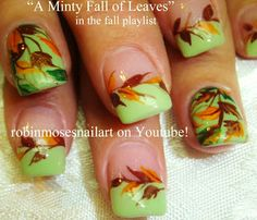 Nail-art by Robin Moses - A minty fall of of leaves!