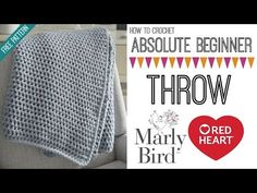 Absolute Beginner Crochet Throw Video Tutorial with Marly Bird – Marly Bird™ – Knitting For Beginners Crochet Blanket Tutorial, Beginner Crochet Tutorial, Easy Crochet Blanket, Crochet For Beginners Blanket, Afghan Crochet Patterns, Crochet Patterns For Beginners, Knitting For Beginners, Crochet Tutorials, Crochet Stitches