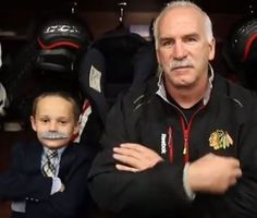 Joey the junior reporter and coach Q of the Chicago Blackhawks, decide that moustaches are the way to go this playoff season.