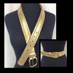"Gold Metallic Belt Nine West gold metallic belt.  Genuine leather.  Size small.  Measures 39"" in its entirety excluding buckle. Holes fall between 30""- 34"" Nine West Accessories Belts"