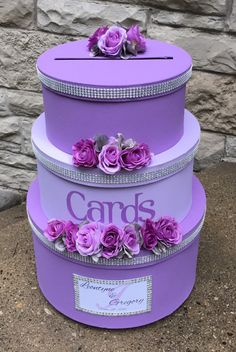 Wedding Card Box, Wedding Card Holder, 3 Tier, Round, Lilac and Lavender, Wedding Decor, Custom Design by aSignofJoy on Etsy https://www.etsy.com/listing/456163738/wedding-card-box-wedding-card-holder-3