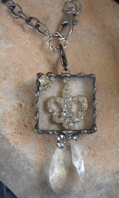 Rhinestone Fleur De LIs soldered box pendant with by Nanettemc, $22.00
