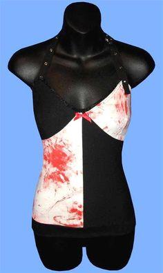 Horror Punk BLOOD SPLATTERED Halter Top Size by trashqueenclothing