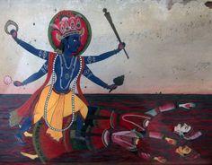 Kala Ksetram, Vishnu kills the demons Madhu and Kaithaba, newari...