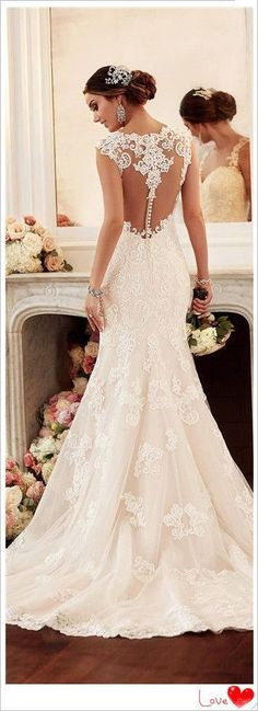 "lace wedding dress-** EXPLORE Theme Design ""Wedding Invitation Sets"" GO TO... http://WeddingInvitationSets.com/ #weddingdress"