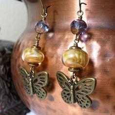 Butterfly Earrings With Handmade Lampwork Beads by NedjmaBazaar