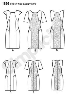 Simplicity Pattern 1156 (Out Of Print) This Amazing fit Dress for miss and  miss plus has option of contrast panels and sleeve lengths. 4cce3221a8ba