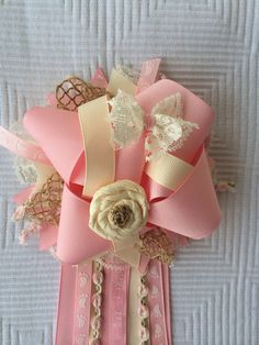 Vintage Baby Shower Corsage Pin Pink Lace  on Etsy, $18.00