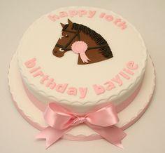 Horse Birthday Cake - Vanilla sponge cake with a fondant cut out horse head - Birthday Cake Vanilla Ideen Horse Birthday Parties, Cowgirl Birthday, Birthday Cake Girls, Birthday Cakes, Cowgirl Party, 8th Birthday, Cowgirl Cakes, Giraffe Cakes, Horse Cake