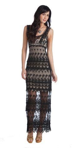 Rancho Estancia Anna Maria Maxi Black Lace Dress | Stages West