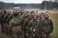 Female Marine recruits prepare to fire on the rifle range during boot camp February 2013 at MCRD Parris Island, South Carolina. Military Girlfriend, Military Women, Military Life, Military Spouse, Female Marines, Us Marines, Women Marines, Female Warriors, Camping Photo