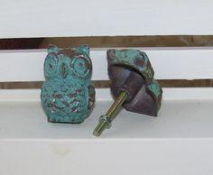 Cast Iron Owl Knob-Blue Distressed Dresser Knob-Drawer Pull. $6.00, via Etsy.