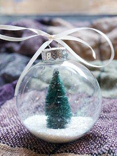 DIY Snow Globe Ornament with a Christmas Tree