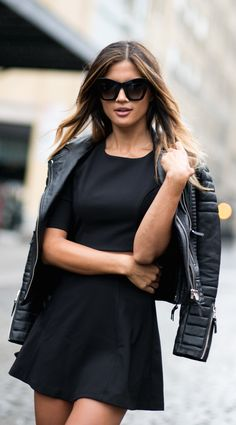 street style black dress leather
