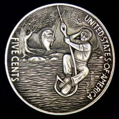 "CHRIS ""DECHRISTO"" DEFLORENTIS HOBO NICKEL - UNLUCKY FISHERMAN - BUFFALO NICKEL REVERSE CARVING"